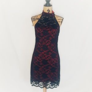 Gorgeous red and black lace cocktail dress